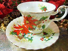 ROYAL ALBERT tea cup and saucer ~POINSETTIA~ CHRISTMAS DUO GOLD GILT TRIM