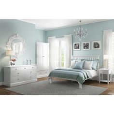 Buy Harper White Solid Wood 2 Door 1 Drawer Wardrobe from - the UK's leading online furniture and bed store Duck Egg Blue Bedroom, Blue Green Bedrooms, Green And White Bedroom, Bedroom Decor For Small Rooms, Bedroom Decor For Couples, Bedroom Colors, Home Decor Bedroom, Bungalow Bedroom, Beautiful Bedrooms