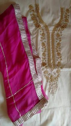 Pure Creap Suit With Hand Worked in Cream Color With Pink Contrast