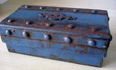 Cardboard pencil case with faux metal and faux rust.  So easy to do and so light.  Instructions on blog.
