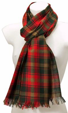 Ladies or men s scarf wrap in Maple Leaf Tartan The scarf is woven in a classic twill weave from 100 pure cotton a soft and natural breathable fabric