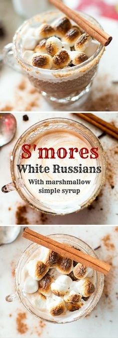 These S'mores White Russians are seriously decadent. Forget dessert. These are dessert AND an alcoholic beverage. Vodka, Kahlua, spiced marshmallow simple syrup, semi-sweet chocolate, and roasted marshmallows all combine to make a warm and toasty drink th