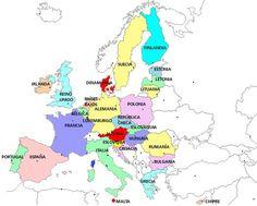 Mapa con los países de la Unión Europea