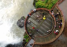 Iguazu Viewing Platform Brazil.  Spiral viewing platform located over Iguazu waterfall.