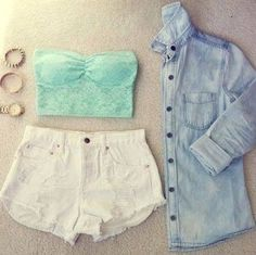 Summer Outfit - White Shorts - Lace Strapless Cop Top