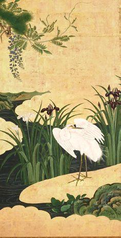 Detail of heron. Birds and Flowers of Spring and Summer. Edo period (latter half of 17th century). Kano Eino. Pair of six-fold Japanese screens. 春夏花鳥図屏風 狩野永納筆. Suntory Museum of Art.