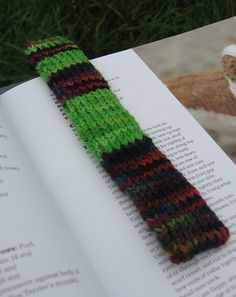 This pattern is available as a free Ravelry download  at http://www.ravelry.com/patterns/library/another-fibonacci-bookmark  This little bookmark is a great gift for an engineer, a math person or just your common garden variety of geek as it uses the FIBONACCI sequence of numbers for the pattern.    It is a very basic design and a quick knit using two different colors of yarn, resulting in a striped bookmark where each section is knit according to the FIBONACCI sequence.