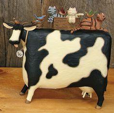 Large Cow With Cats Figurine – Everyday Folk Art Figurines & Collectibles – Williraye Studio $40.00