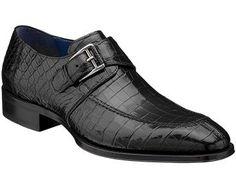 Mezlan Platinum Comodo Black Genuine Alligator Shoes