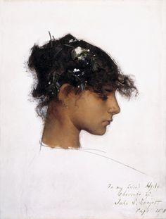 "kundst: "" John Singer Sargent (1856-1925): Rosina Ferrara, Head of a Capri Girl, 1878 Oil on board, 12 7/8 x 9 7/8 in. """
