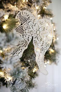 Vintage lace wings christmas decoration