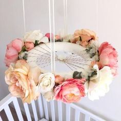 Nursery inspiration // whimsical coral & peach flower mobile floral crib by RosyRilli Nursery Room, Girl Nursery, Peach Nursery, Floral Nursery, Coral Nursery Decor, Whimsical Nursery, Nursery Bedding, Do It Yourself Baby, Flower Mobile