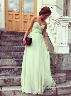 Long Chiffon Seafoam Green Dress