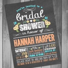 Floral Bridal Shower Invitation Wedding Shower by CLaceyDesign