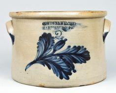 """Two gallon stoneware crock stamped """"Cowden & Wilcox, Harrisburg, PA,"""" circa 1865"""
