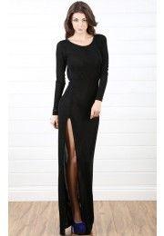 Open Back Sparkle Side Slit Dress BLACK