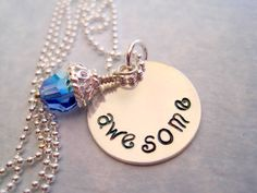 Awesome Handstamped Necklace in Sterling Silver by by marybeadz, $30.00