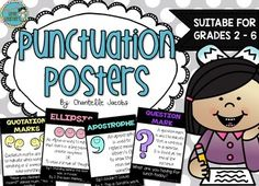 Included in this pack are 12 Punctuation Posters suitable for Grades 2-6.Each poster has a DEFINITION and EXAMPLE of each piece of punctuation.Includes the following:Exclamation MarkColonSemicolonQuestion MarkCommaHyphenFull StopPeriodParenthesis or BracketsQuotation MarksApostropheEllipsisAlso available in Chalkboard*