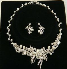 Swarovski Crystal And Fresh Water Pearl Wedding Necklace And Earring Set 0234
