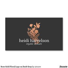 Rose Gold Floral Logo on Dark Gray Business Card for Salons, Cosmetologists, Hair Stylists, Makeup Artists and more. Double-sided design - Ready to personalize.