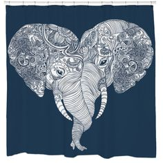 Punch Trunk Love Shower Curtain.   This type of love is unforgettable (because elephants have amazing memory). Feel the love daily with this artistic shower curtain!