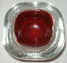 Mind Blowing VINTAGE small MURANO Glass GEODE Bowl RUBY Red CENTER Bullicante #Murano