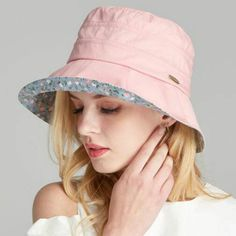 Fashion womens sun bucket hat Floral lined summer UV sun hats foldable