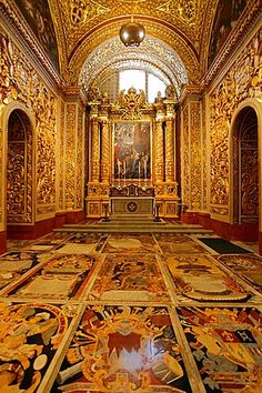 Malta, La Valeta, San Juan' s Co-catedral, interior. Malta, Baroque Architecture, John The Baptist, Baroque Fashion, Travel Style, Cathedral, Beautiful Places, Around The Worlds, 1