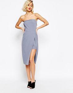 Image 4 of Lavish Alice Bandeau Body-Conscious Midi Dress with Neckline Detail