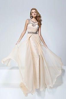 A-Line/Princess Jewel Sweep/Brush Train Chiffon Lace Prom Dress