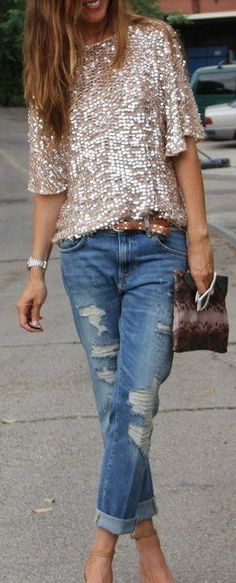 sequin top, distressed boyfriend jeans, pumps
