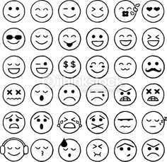 벡터 아트 : 이모티콘 아이콘을, 이모티콘, 얼굴 표정, 인터넷