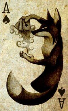 I want a card pack like this Black Magic Fox by =Skia on deviantART Magic Fox, Fuchs Tattoo, Illustration Arte, Arte Obscura, Ace Of Spades, Fox Art, Art Graphique, Archetypes, Black Magic