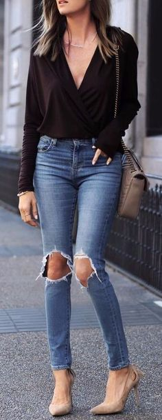 40 Trendy Fall Outfit Ideas To Make You Look Perfect Look Fashion, Girl Fashion, Fashion Outfits, Womens Fashion, Skinny Jeans Beige, Ripped Jeans, Cute Spring Outfits, Cute Outfits, Winter Outfits