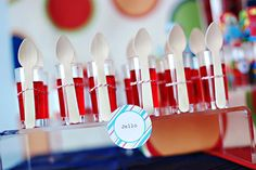 cute idea for individual jello servings...also looks adorable.  They also used little shot glasses for individual servings of smarties!