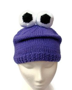 198aeaf2449 Knitted monster hat animal beanie novelty hat purple wool with eyeballs.  £25.00
