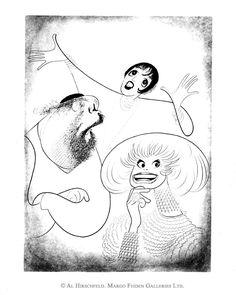 AL HIRSCHFELD'S BROADWAY TRIO, depicting ZERO MOSTEL, LIZA MINNELLI, and CAROL CHANNING
