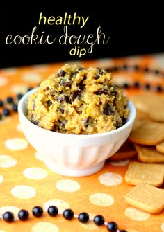 This is a Healthy Chocolate Chip Cookie Dough Dip recipe. Yes. If you can believe that this is not cookie dough, but a healthy, dippable version!