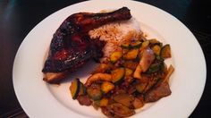Chinese Roast Chicken with Jasmine Rice & Stir Fried Zucchini and Oyster Mushrooms in a Black Bean, Garlic Sauce