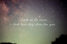 """I love...stars and the song """"Yellow"""" by Coldplay."""