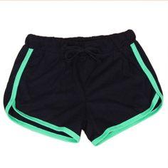 Drawstring Shorts Casual Loose Cotton Contrast BindingSide Split Elastic