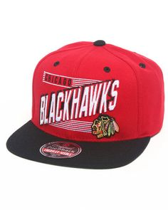 American Needle Men Chicago Blackhawks Nhl Escalator Snapback Hat Red 1SZ