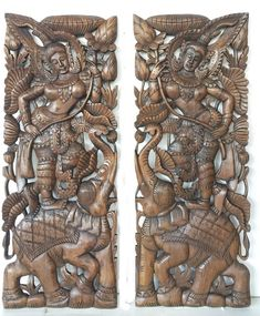 Pair of Thailand Bed Headboard x Sculpture Angel Lotus Flower Elephant Hand Craved Carving Teak Wood Art Panel Wall Home Decor by mythaihome on Etsy Wooden Wall Art Panels, Reclaimed Wood Wall Art, Panel Wall Art, Teak Wood, Rustic Bedding, Headboards For Beds, Hand Carved, Sculpture, Pure Products