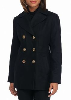 MICHAEL Michael Kors Black Peacoat with Notch Collar
