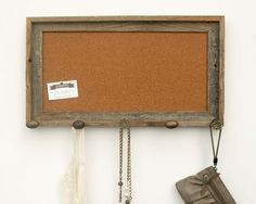 Barnwood Cork Bulletin Board with Brown Knobs 20 x by geaugaroots, $70.00
