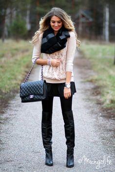beige + black