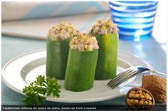 Receta ligera y muy deportiva: Calabacines rellenos de queso de cabra, jamón york y nueces
