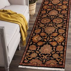 Rugsville Agra Black Red Wool 10436 Rug
