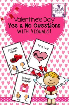 Speech Time Fun: Valentine's Day Yes No Questions (card game with visual aids!)