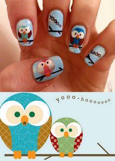 really good owl nails